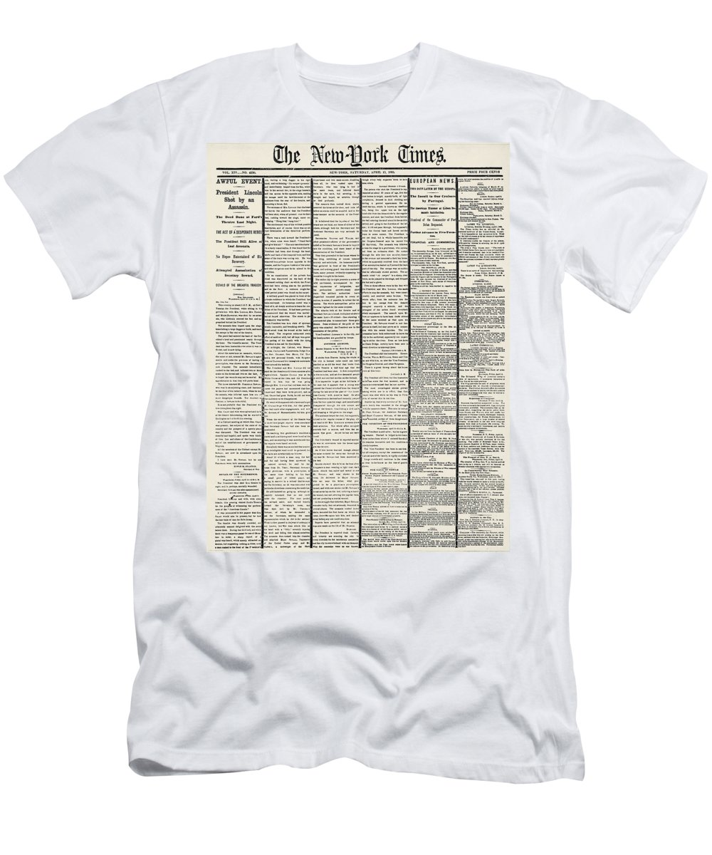 1865 Men's T-Shirt (Athletic Fit) featuring the photograph Lincoln Assassination, 1865 by Granger