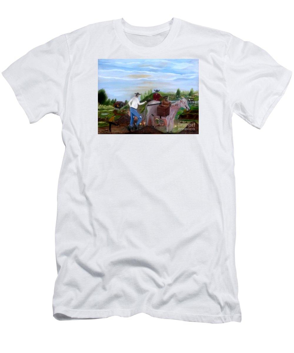 Farm Men's T-Shirt (Athletic Fit) featuring the painting Linpiando El Coral by Juan Carlos Gonzalez