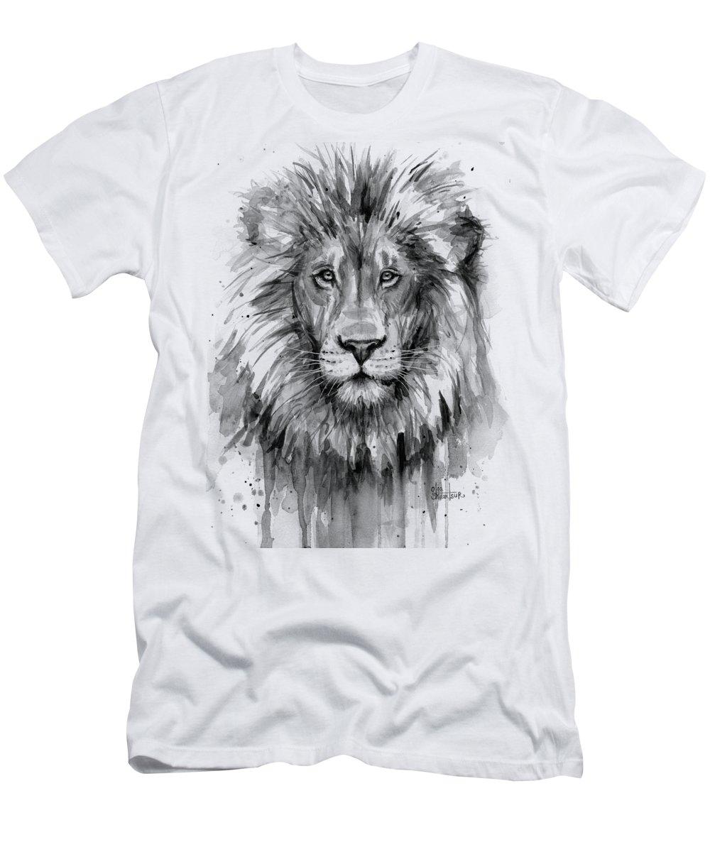Lion Men's T-Shirt (Athletic Fit) featuring the painting Lion Watercolor by Olga Shvartsur