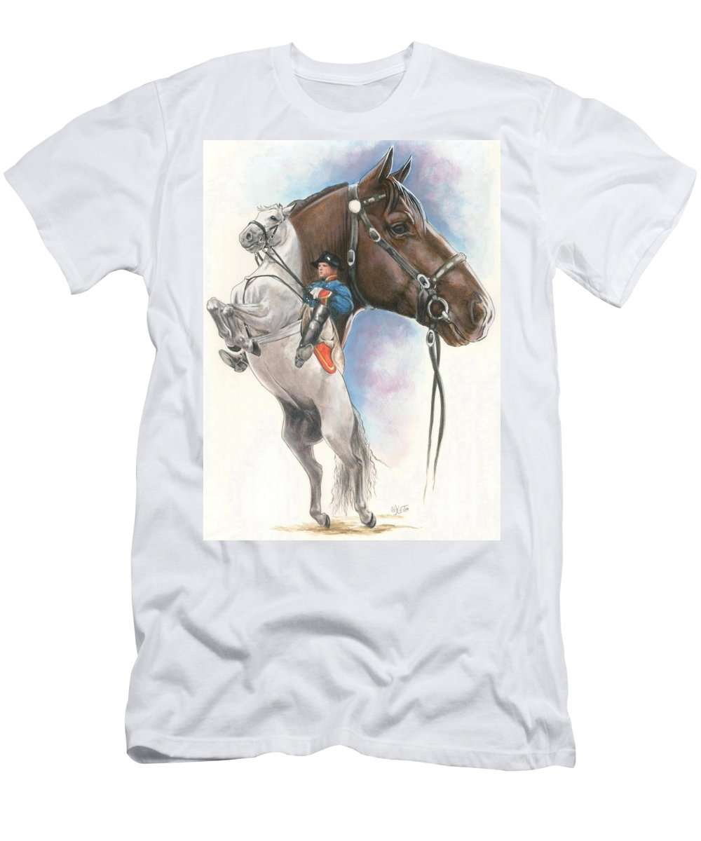 Spanish Riding School Men's T-Shirt (Athletic Fit) featuring the mixed media Lippizaner by Barbara Keith