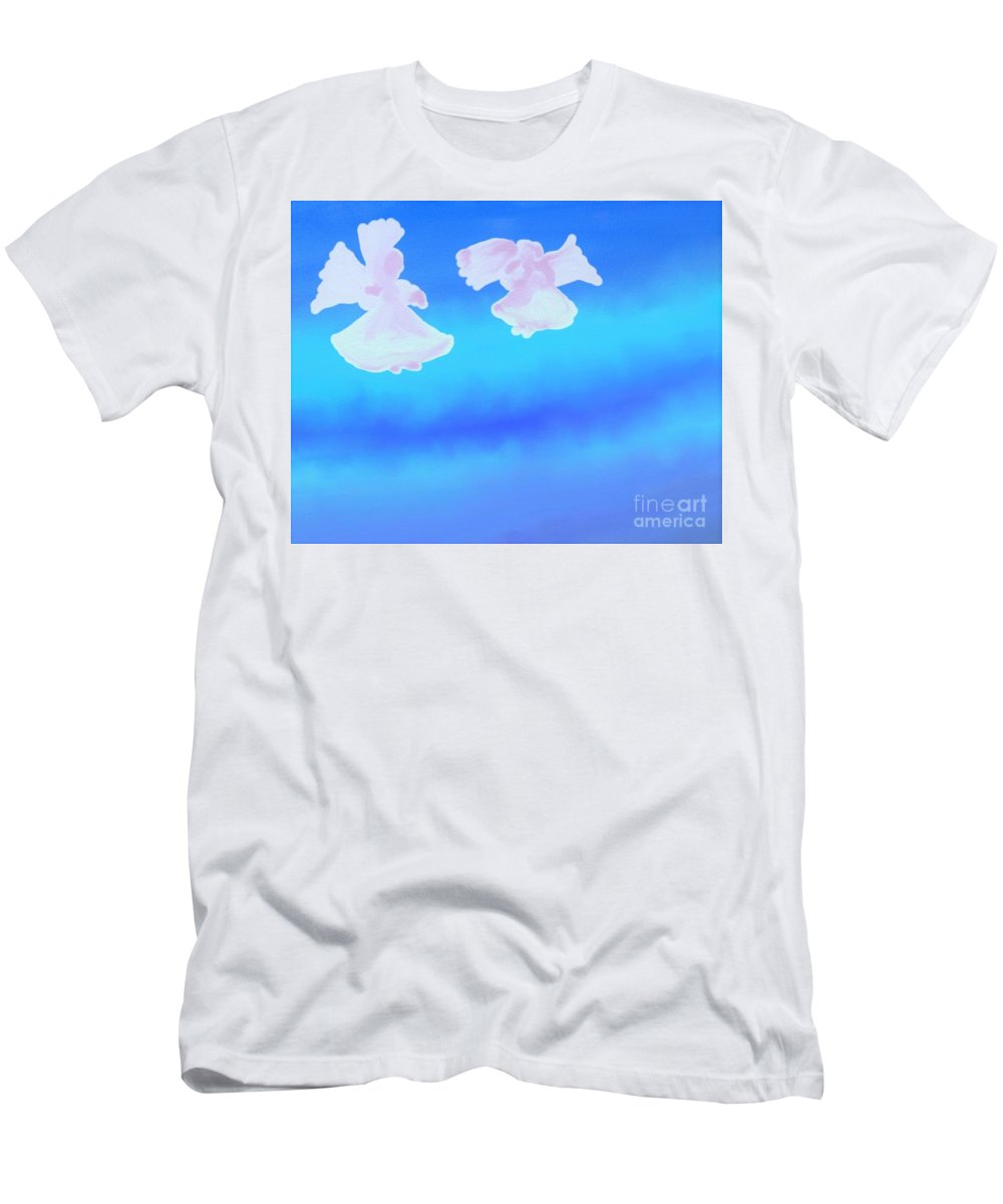 Angels Men's T-Shirt (Athletic Fit) featuring the digital art Little Angels Watching Over Me by Debra Lynch