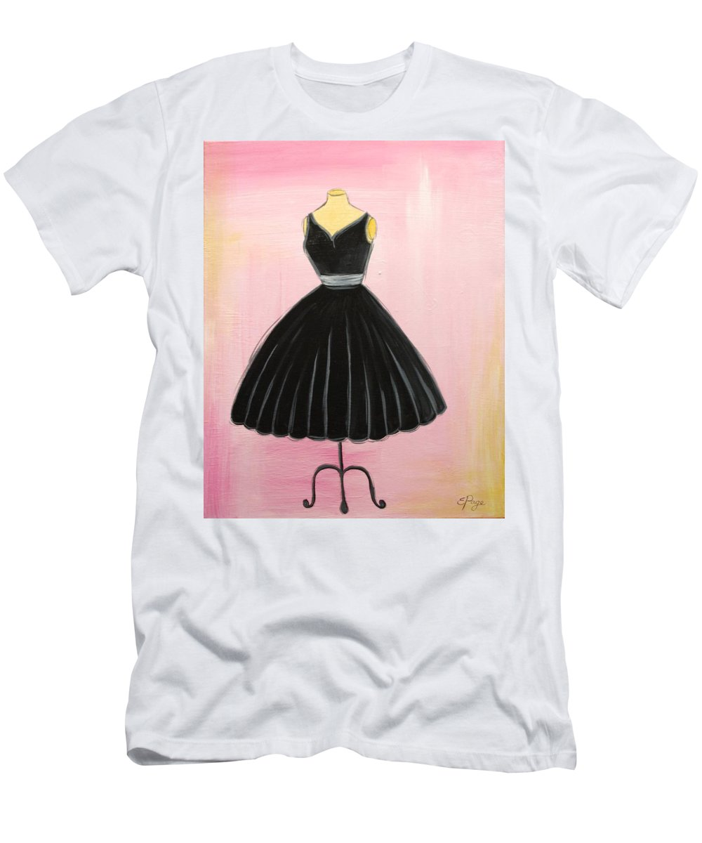 Little Black Dress Men's T-Shirt (Athletic Fit) featuring the painting Little Black Dress by Emily Page