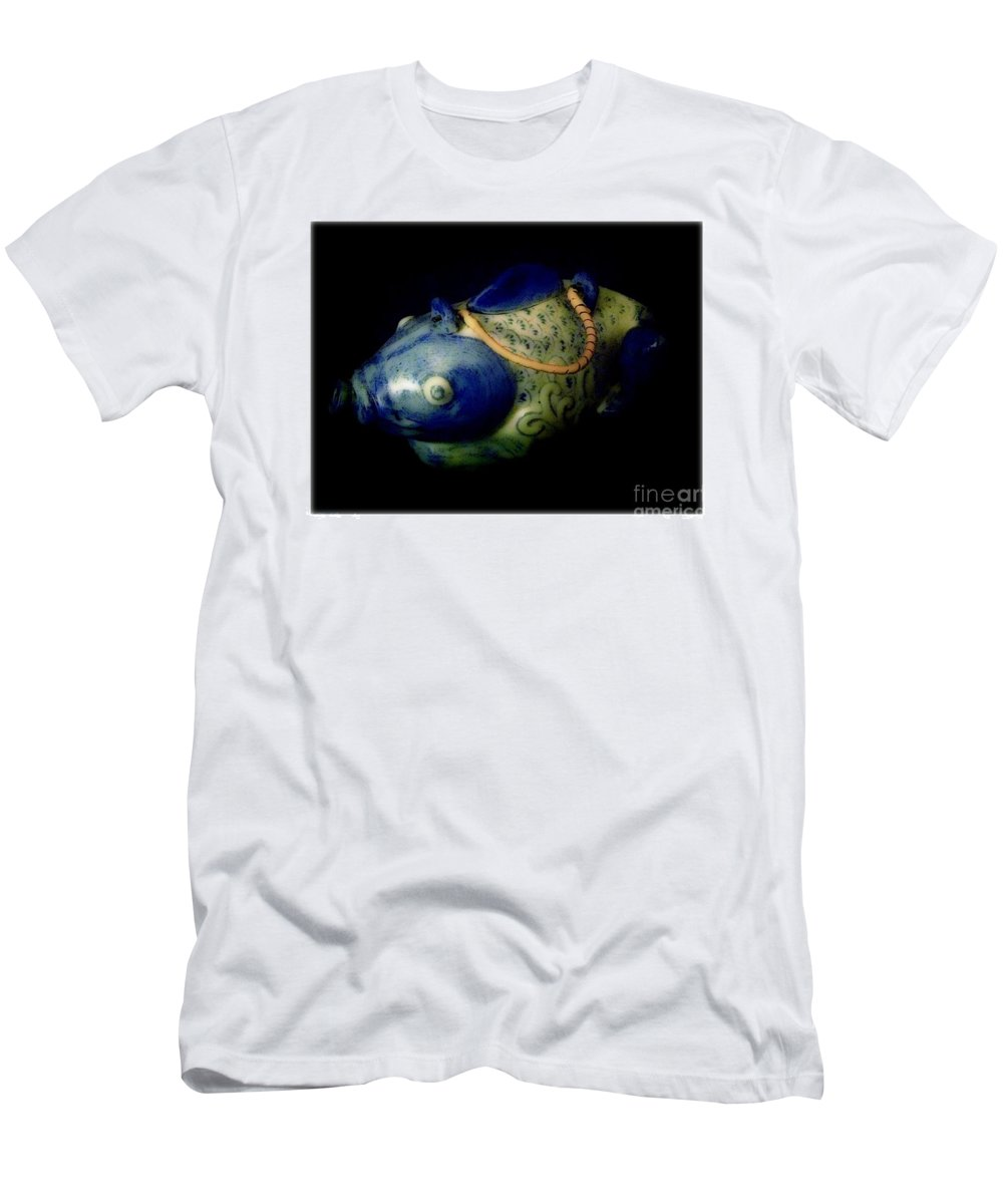 Fish Men's T-Shirt (Athletic Fit) featuring the photograph Little Blue And White Fish Tea Pot Still Life by Debra Lynch