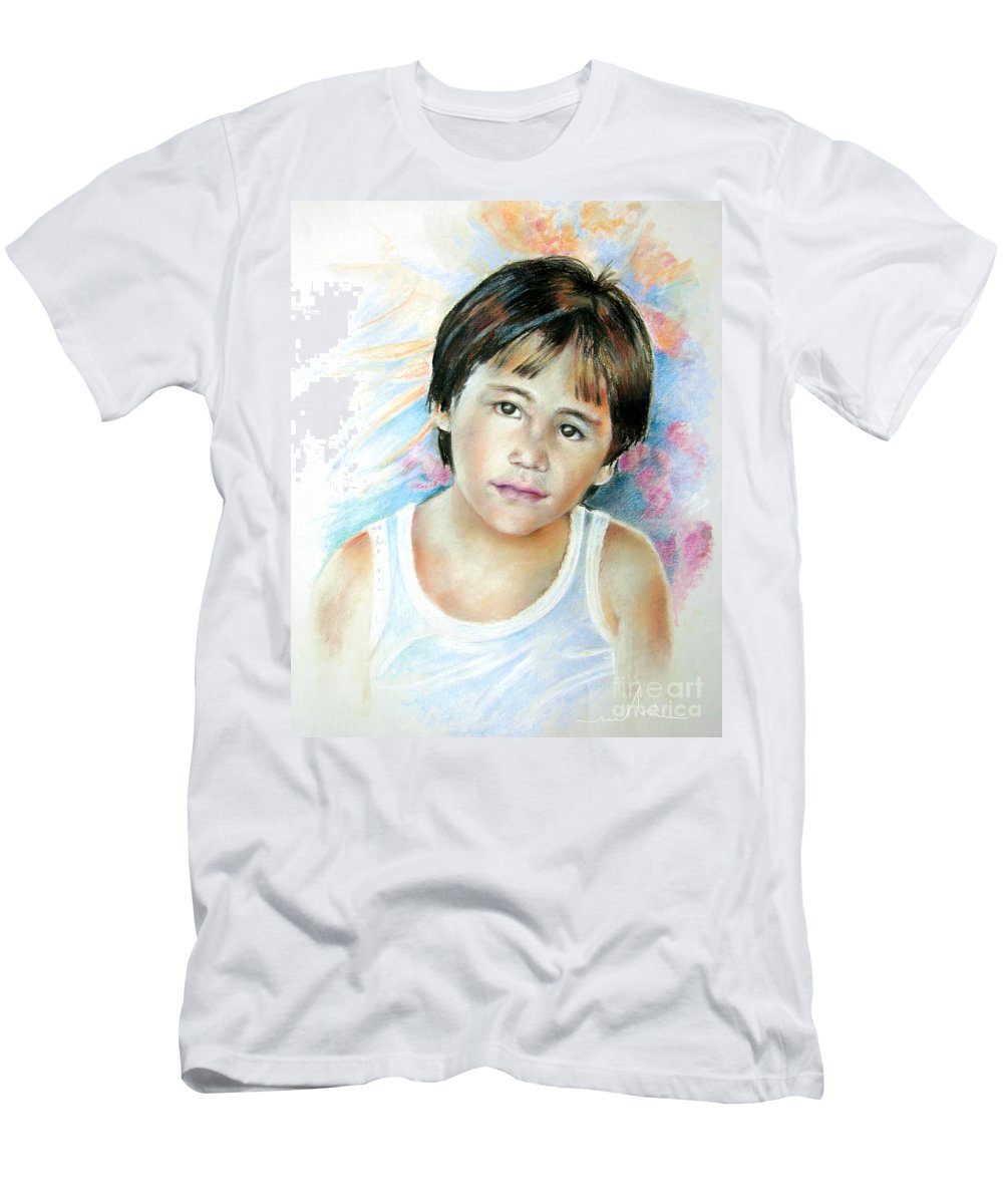 Portrait Child Men's T-Shirt (Athletic Fit) featuring the painting Little Boy From Tahiti by Miki De Goodaboom