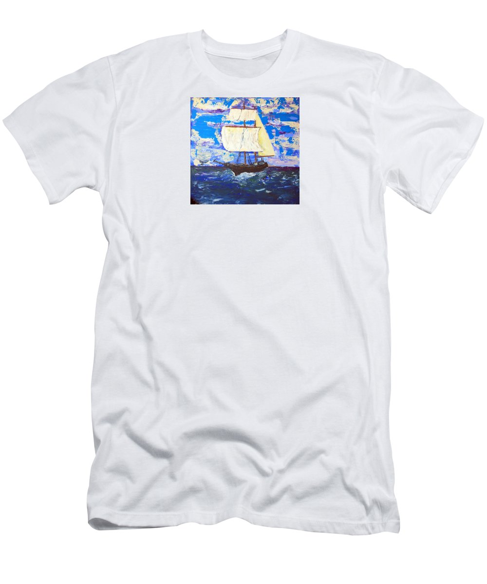 Impressionist Painting Men's T-Shirt (Athletic Fit) featuring the painting Little Clipper by J R Seymour
