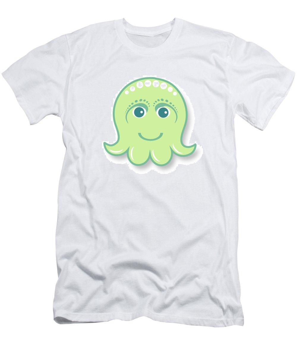 Little Octopus T-Shirt featuring the digital art Little cute green octopus by Ainnion