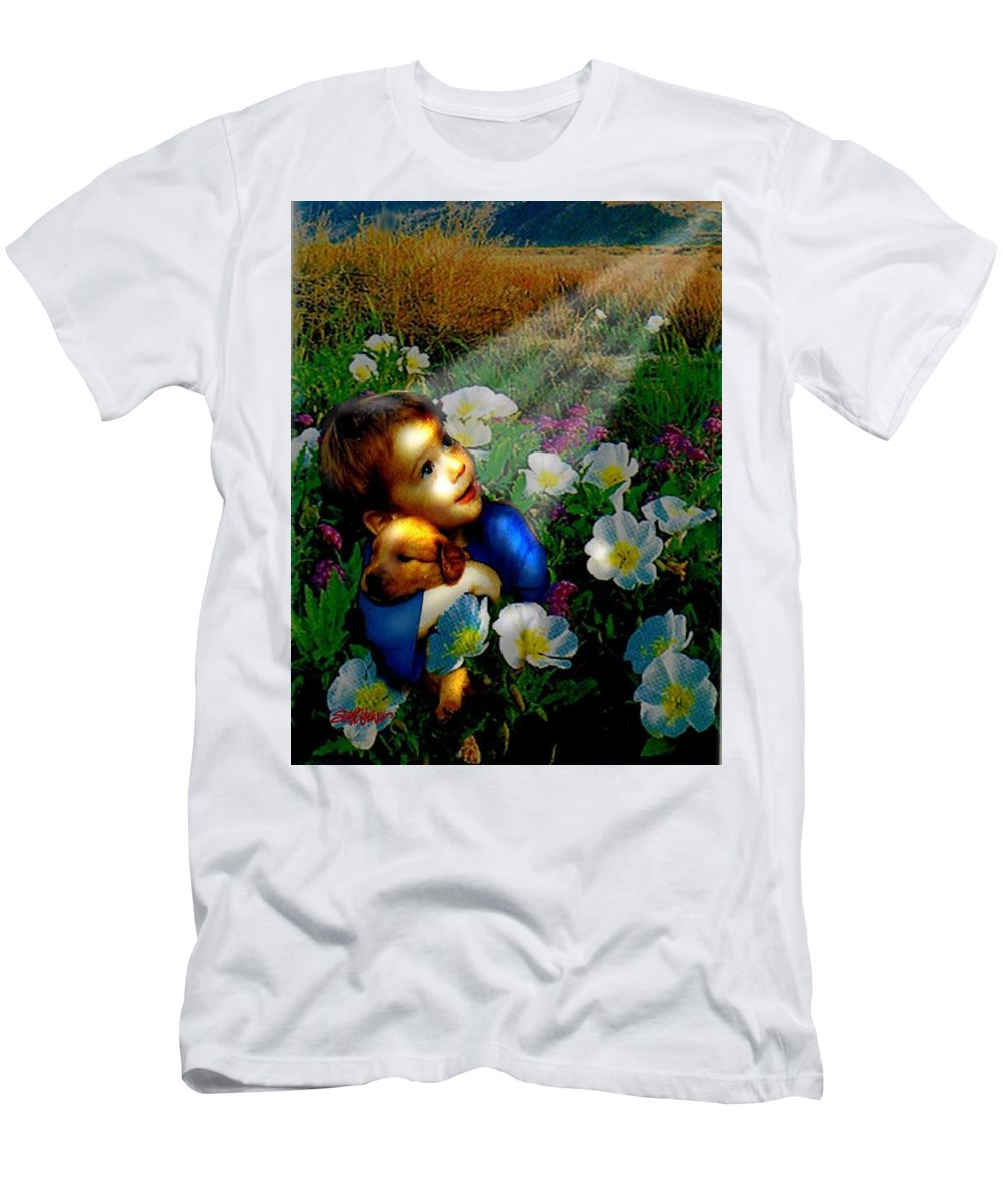 A Small Boy Loses His Puppy. Searches All Day. Finds Sick Puppy In The Rain. Now Both Are Lost Until Men's T-Shirt (Athletic Fit) featuring the digital art Little Dog Lost by Seth Weaver