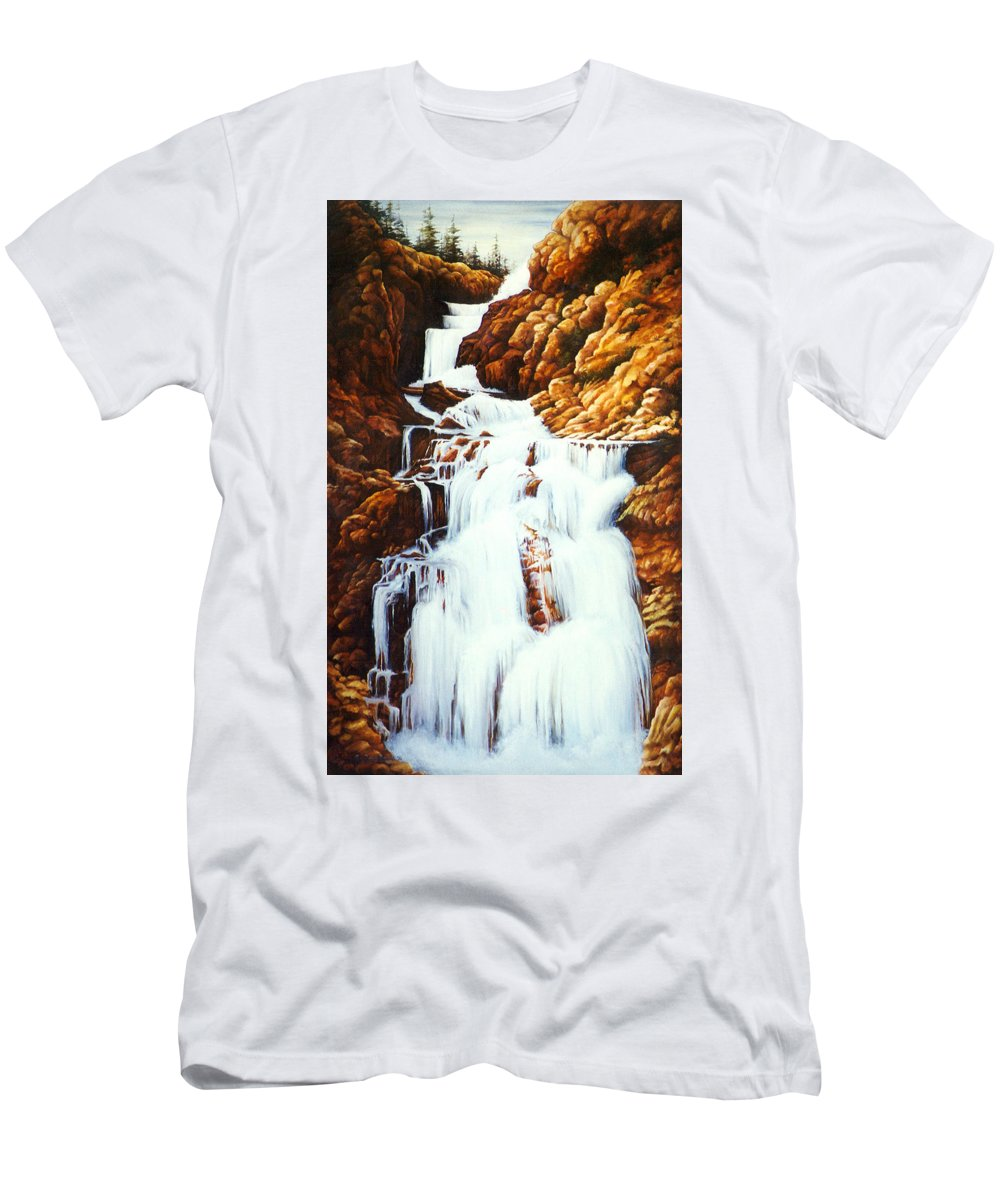 Waterfall Men's T-Shirt (Athletic Fit) featuring the painting Little Firehole Falls by Teri Rosario
