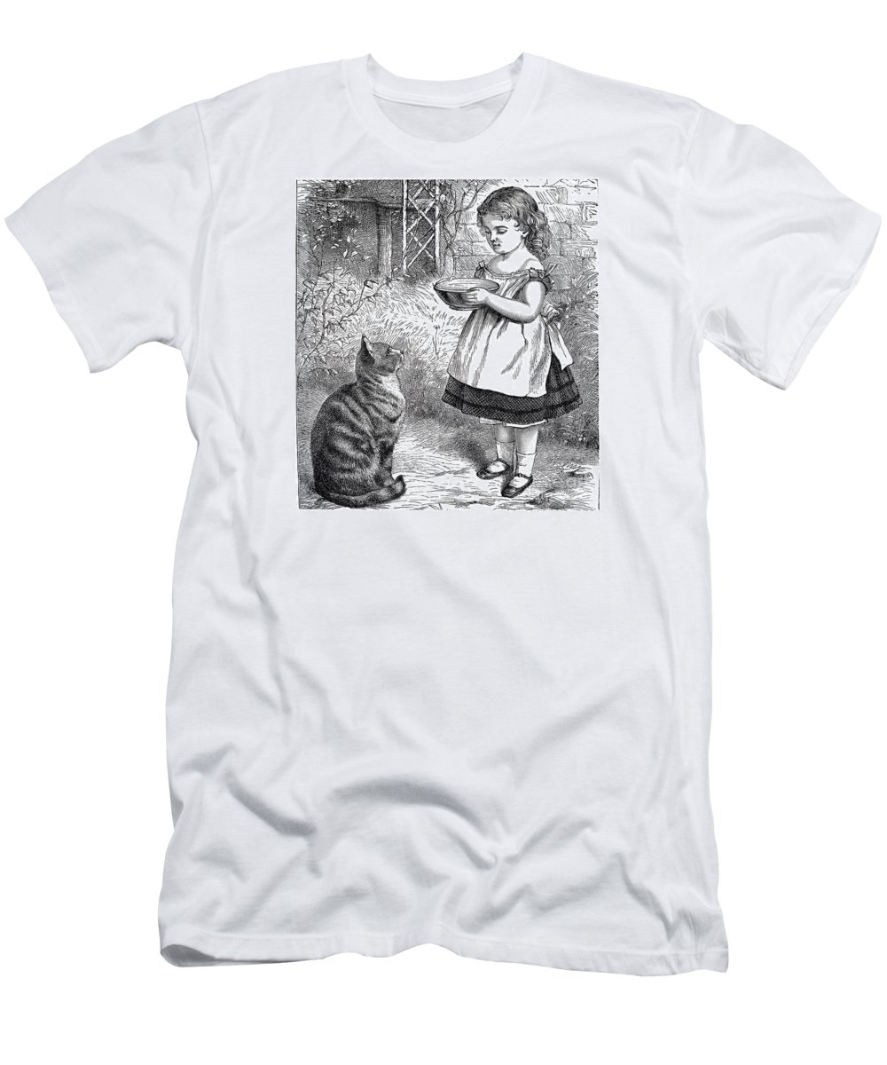 Little Girl Men's T-Shirt (Athletic Fit) featuring the drawing Little Girl Gives Her Cat Its Dinner by R Muirhead Art