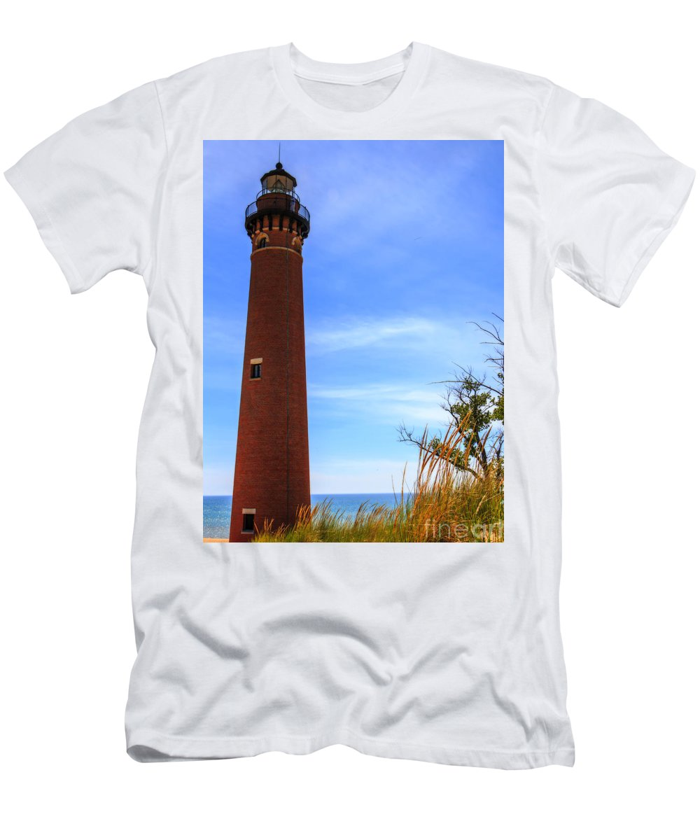 Kathryn Smith Men's T-Shirt (Athletic Fit) featuring the photograph Little Sable Point Lighthouse by Kathryn Smith