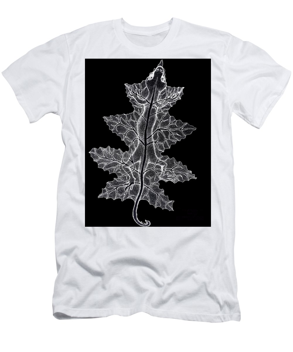Lizard Art Men's T-Shirt (Athletic Fit) featuring the drawing Lizard And Leaf by Nick Gustafson