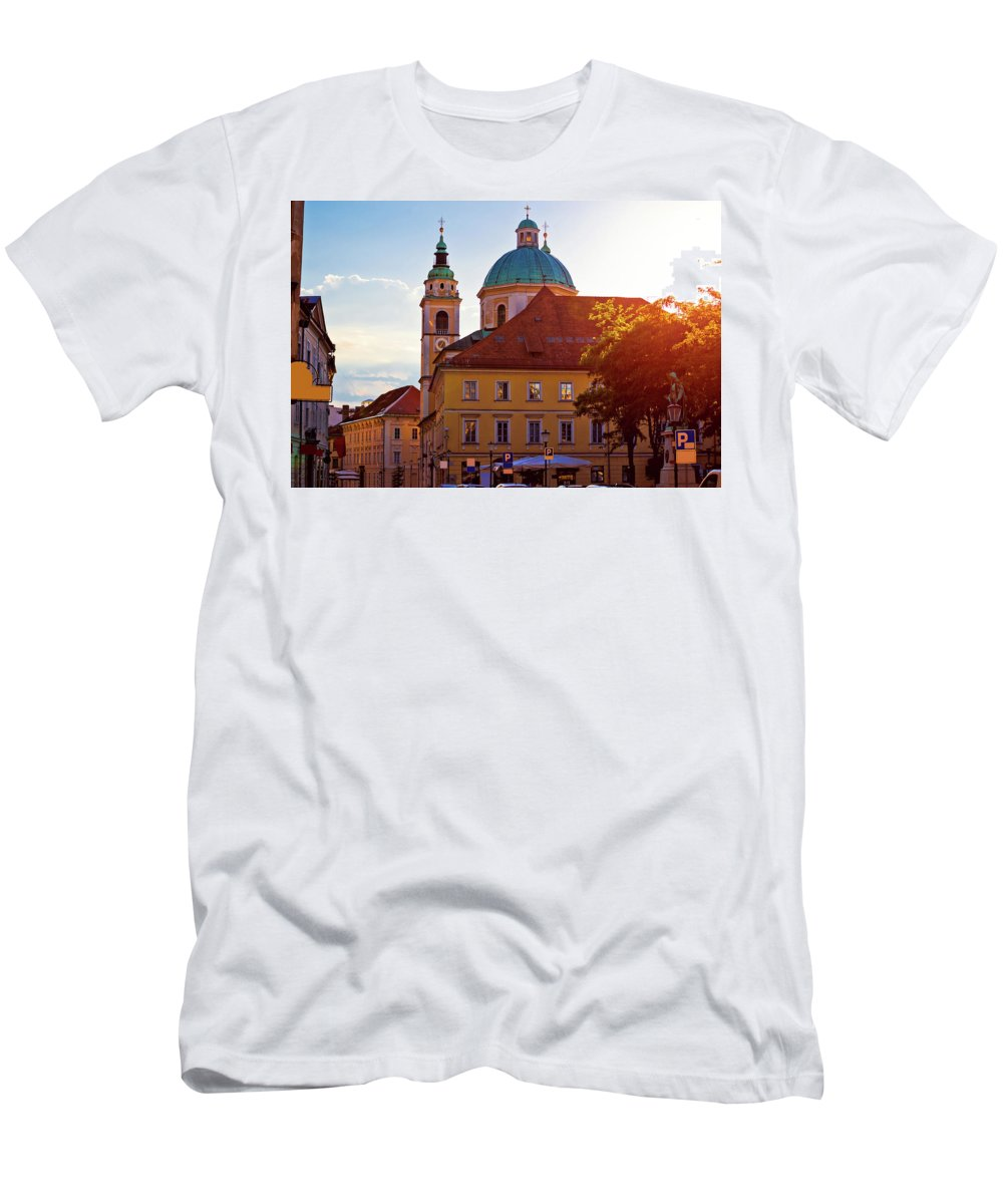 Ljubljana Men's T-Shirt (Athletic Fit) featuring the photograph Ljubljana Church And Square Sunset View by Brch Photography