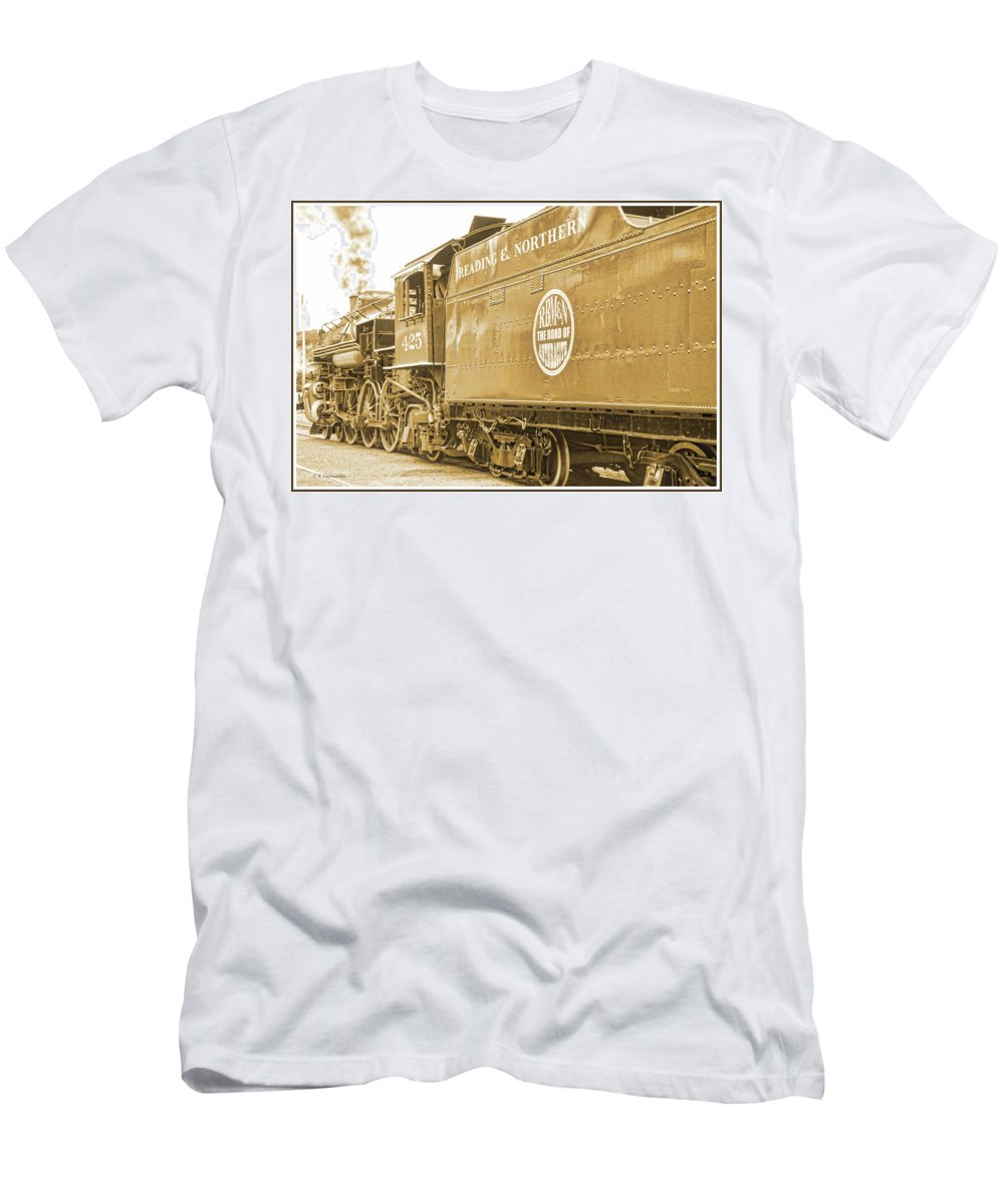 Locomotive Men's T-Shirt (Athletic Fit) featuring the photograph Locomotive And Coal Car Of Yesteryear by A Gurmankin