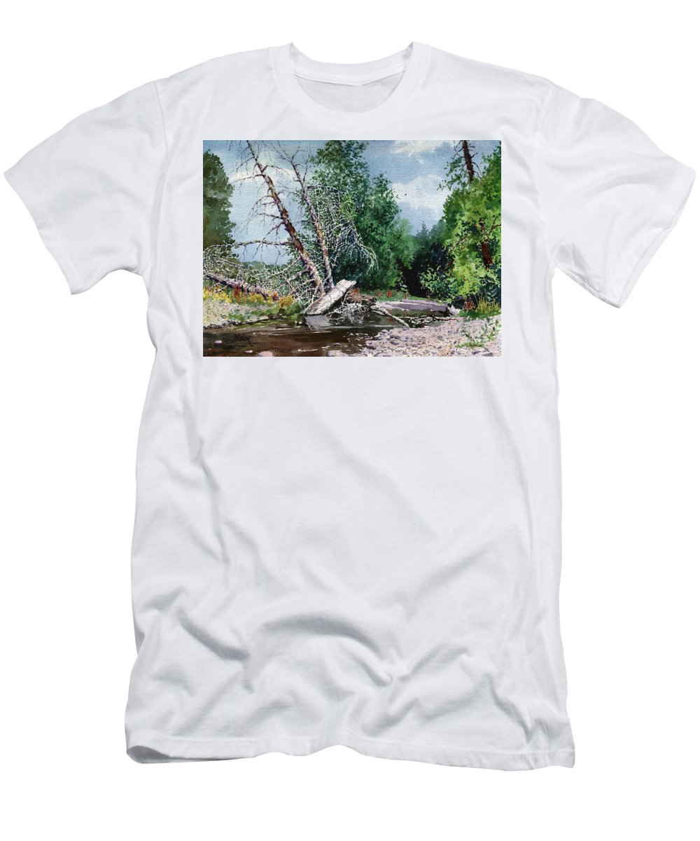 Washington State Men's T-Shirt (Athletic Fit) featuring the painting Log Jam by Donald Maier