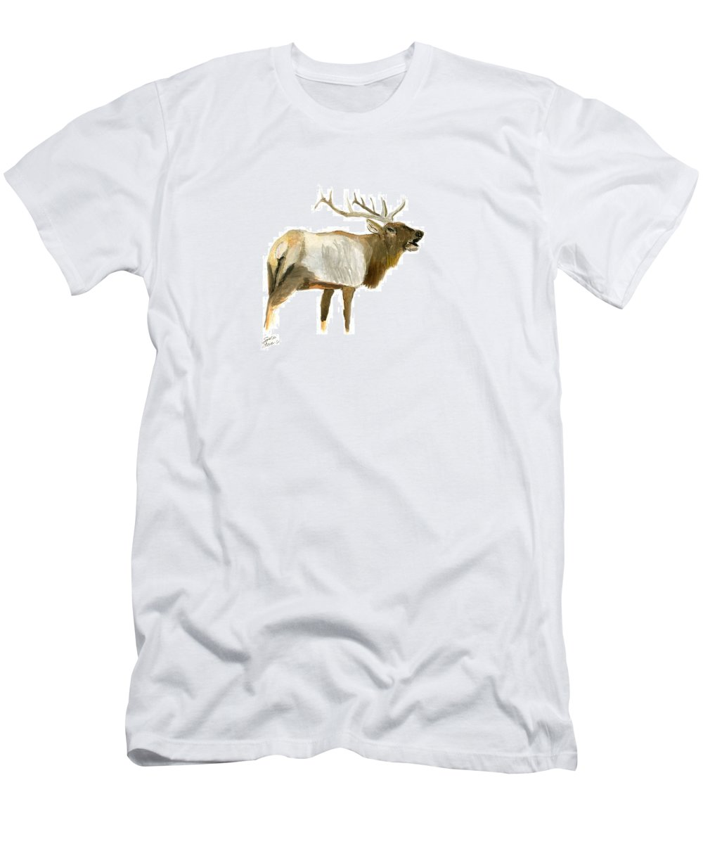 Men's T-Shirt (Athletic Fit) featuring the painting Lone Elk by Sara Stevenson