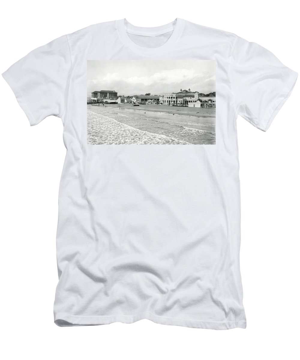 long Beach Men's T-Shirt (Athletic Fit) featuring the photograph Long Beach California C. 1910 by Daniel Hagerman