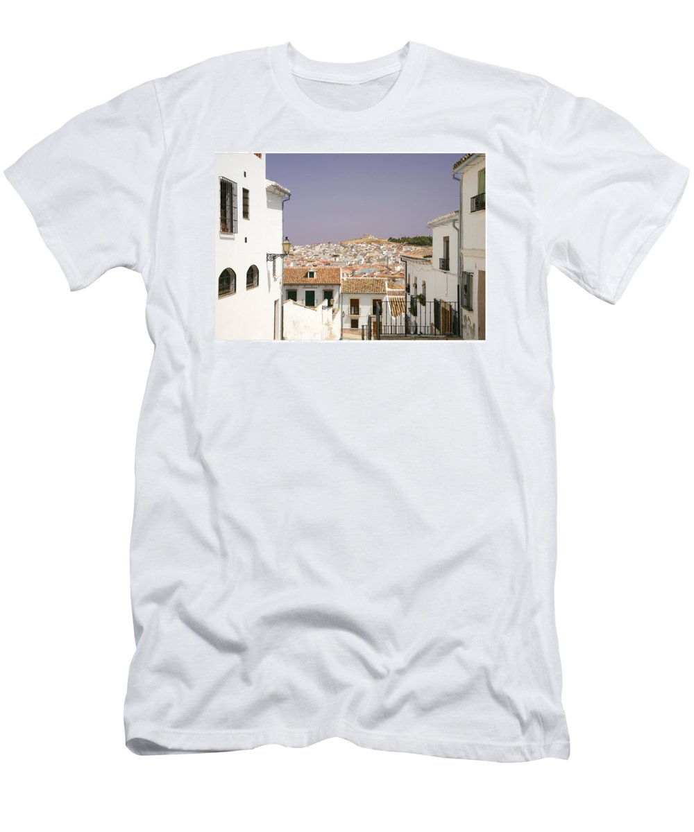 Antequera Men's T-Shirt (Athletic Fit) featuring the photograph Looking Down Over Antequera From Near The Church Of Santa Maria La Mayor by Mal Bray