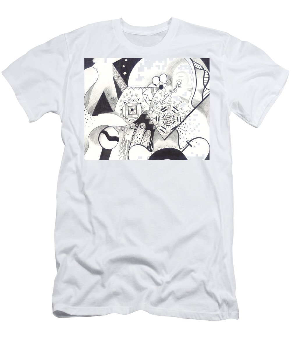 Allness Men's T-Shirt (Athletic Fit) featuring the drawing Looking For The Universe In A Grain Of Sand by Helena Tiainen