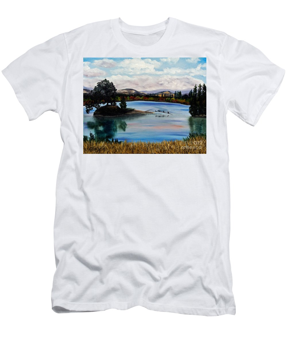 California Men's T-Shirt (Athletic Fit) featuring the painting Los Gatos Lake by Laura Iverson