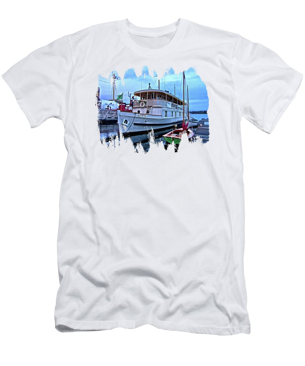 Lotus Men's T-Shirt (Athletic Fit) featuring the photograph Lotus And The Dinghies by Thom Zehrfeld