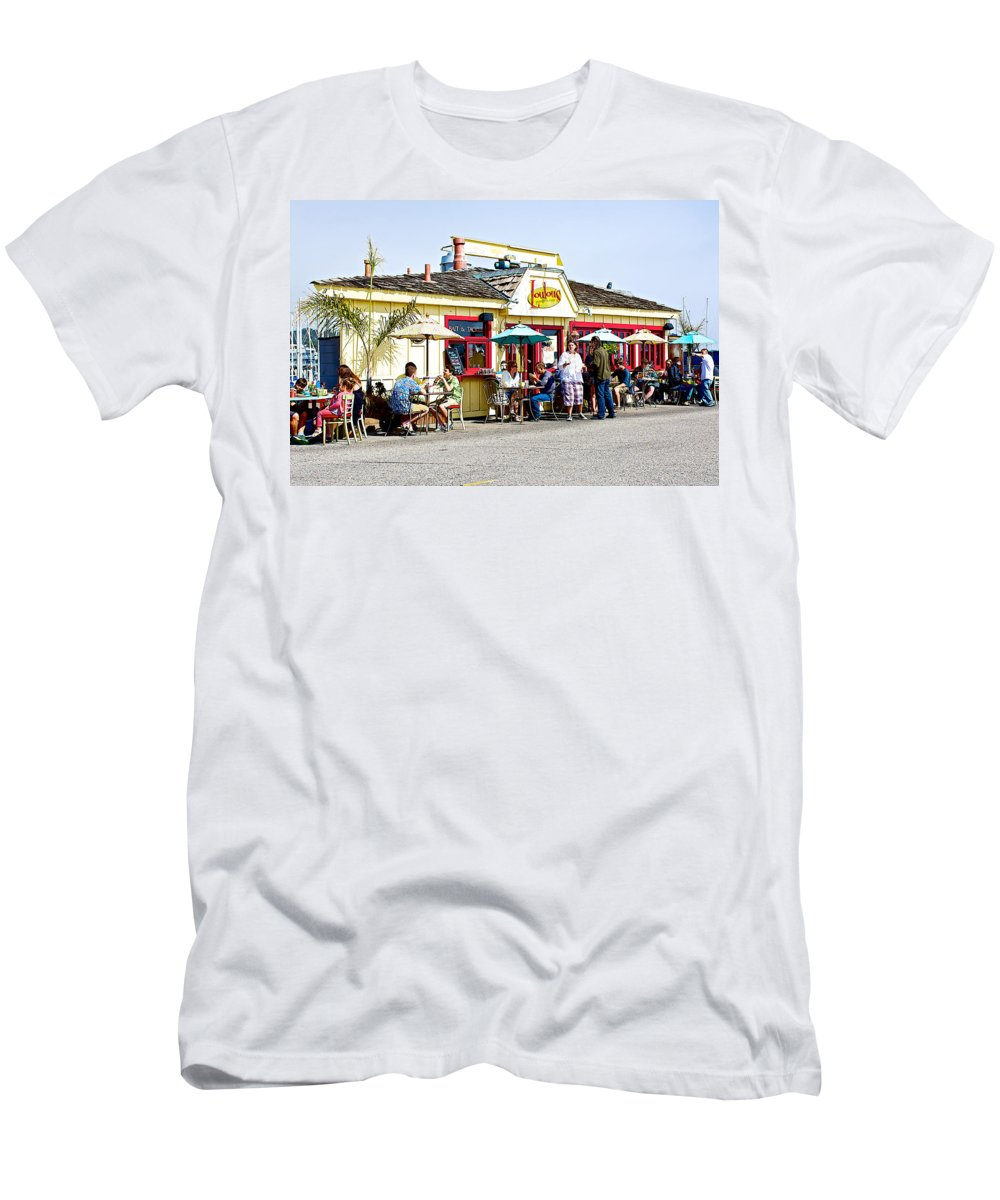 Loulou's On The Commercial Pier In Monterey Men's T-Shirt (Athletic Fit) featuring the photograph Loulou's On The Commercial Pier In Monterey-california by Ruth Hager