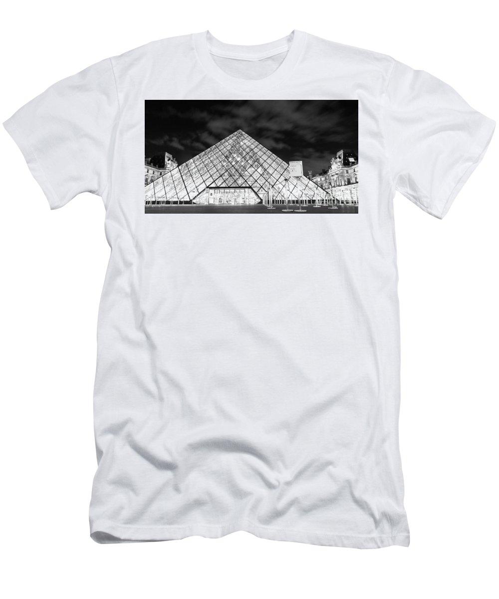 Paris Men's T-Shirt (Athletic Fit) featuring the photograph Louvre Museum Bw by Alex Art and Photo