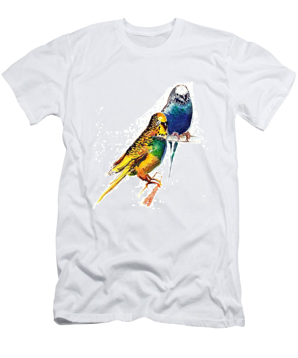 Nature Men's T-Shirt (Athletic Fit) featuring the painting Love Birds by Anil Nene