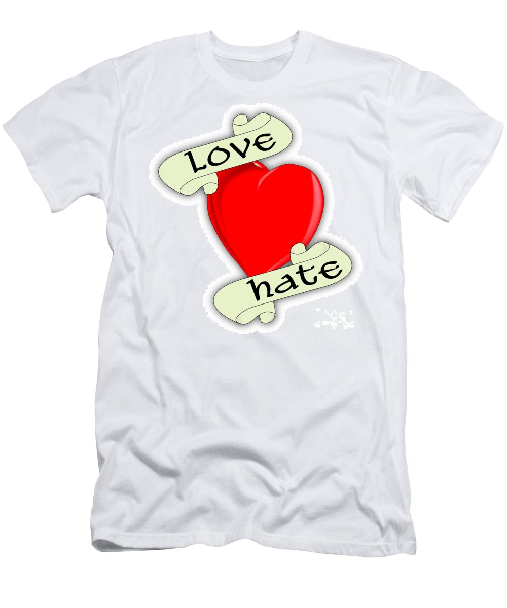 Love Hate Men's T-Shirt (Athletic Fit) featuring the digital art Love Hate Heart by Bigalbaloo Stock
