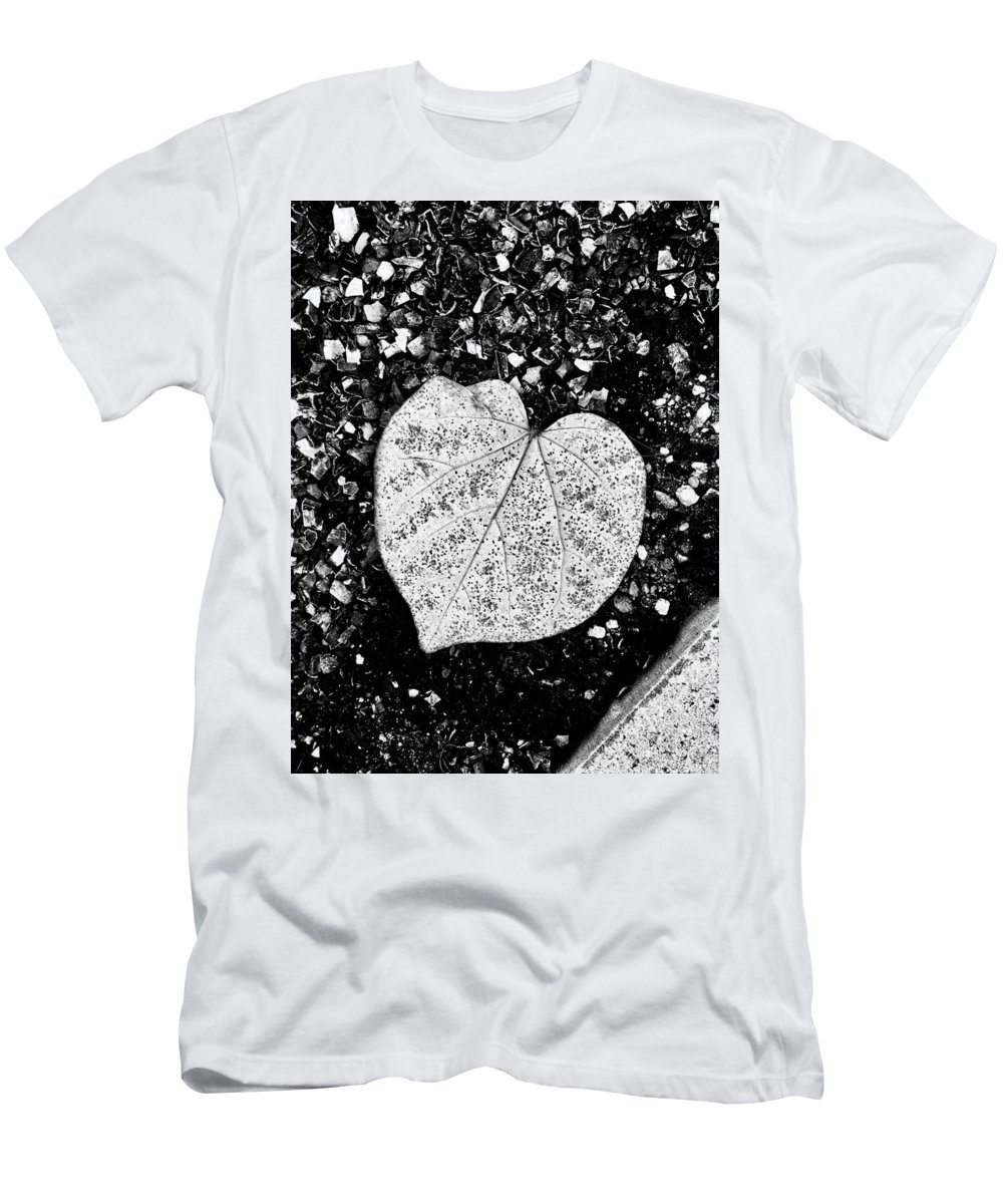 Black And White T-Shirt featuring the photograph Love Leaf by Andres Cavazos