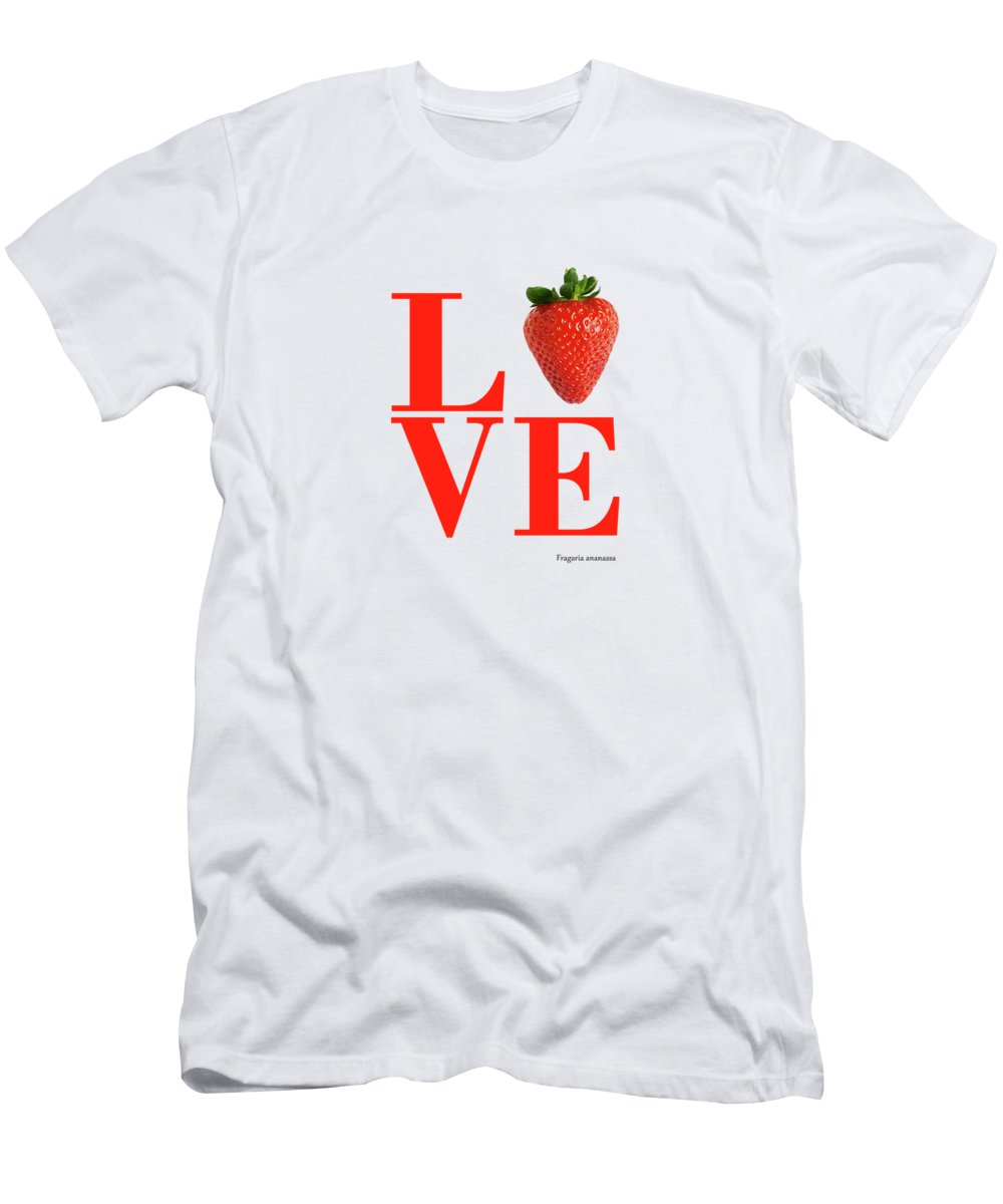 Strawberry Men's T-Shirt (Athletic Fit) featuring the photograph Love Strawberry by Mark Rogan