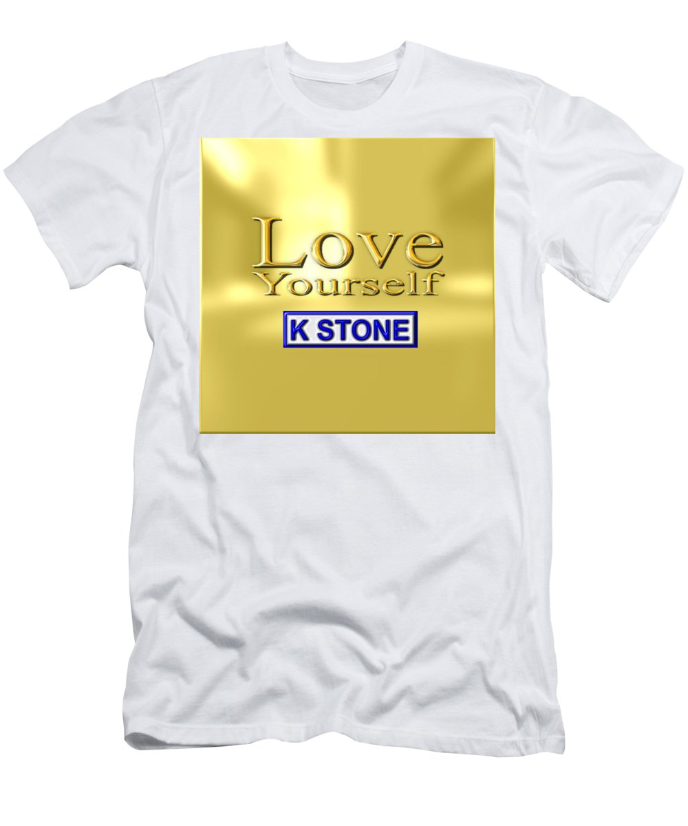 K Stone Men's T-Shirt (Athletic Fit) featuring the digital art Love Yourself by K STONE UK Music Producer