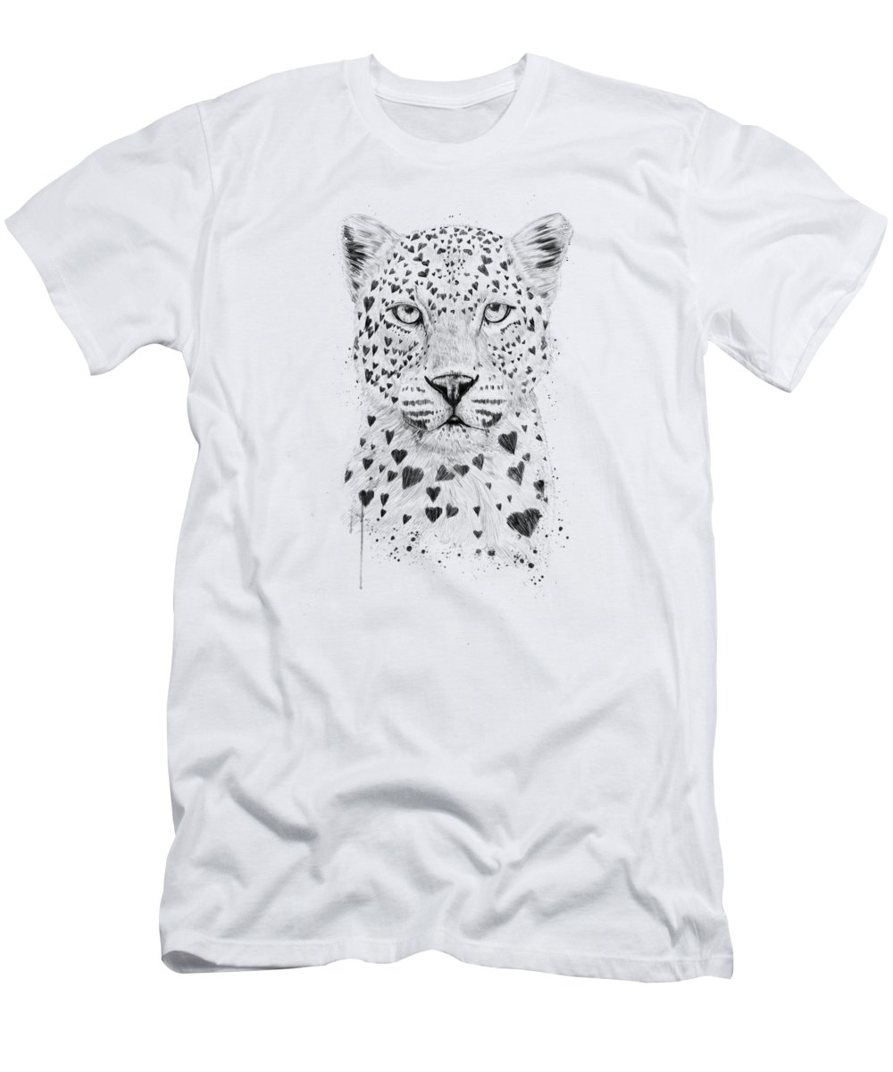 Leopard T-Shirt featuring the drawing Lovely leopard by Balazs Solti