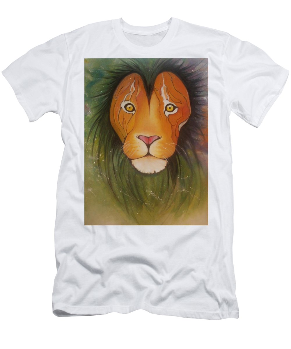 #lion #oilpainting #animal #colorful T-Shirt featuring the painting LovelyLion by Anne Sue