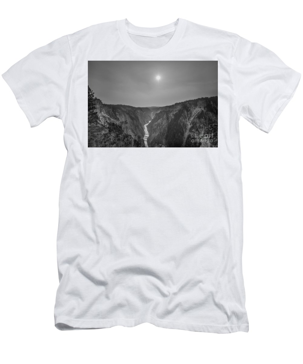 Yellowstone Men's T-Shirt (Athletic Fit) featuring the photograph Lower Falls At Artist Point Bw by Michael Ver Sprill