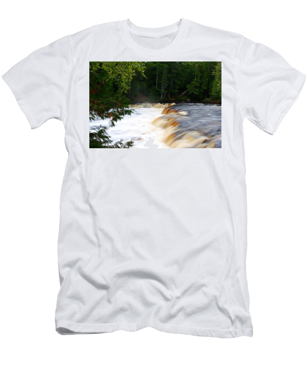 Waterfall Men's T-Shirt (Athletic Fit) featuring the photograph Lower Tahquamenon Falls by Devon Kotke