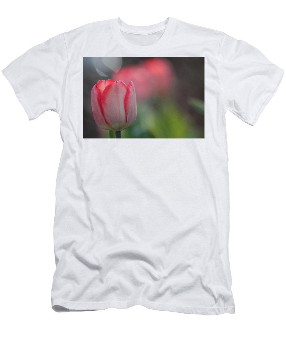 Tulip Men's T-Shirt (Athletic Fit) featuring the photograph Luminous by Linda Crockett
