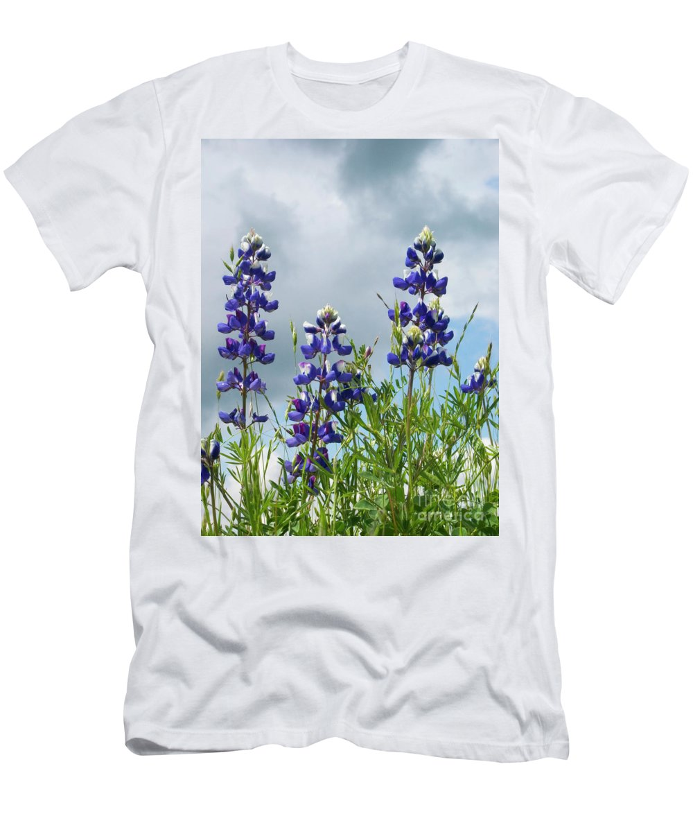 Lupine Men's T-Shirt (Athletic Fit) featuring the photograph Lupines Against The Sky by Jim And Emily Bush