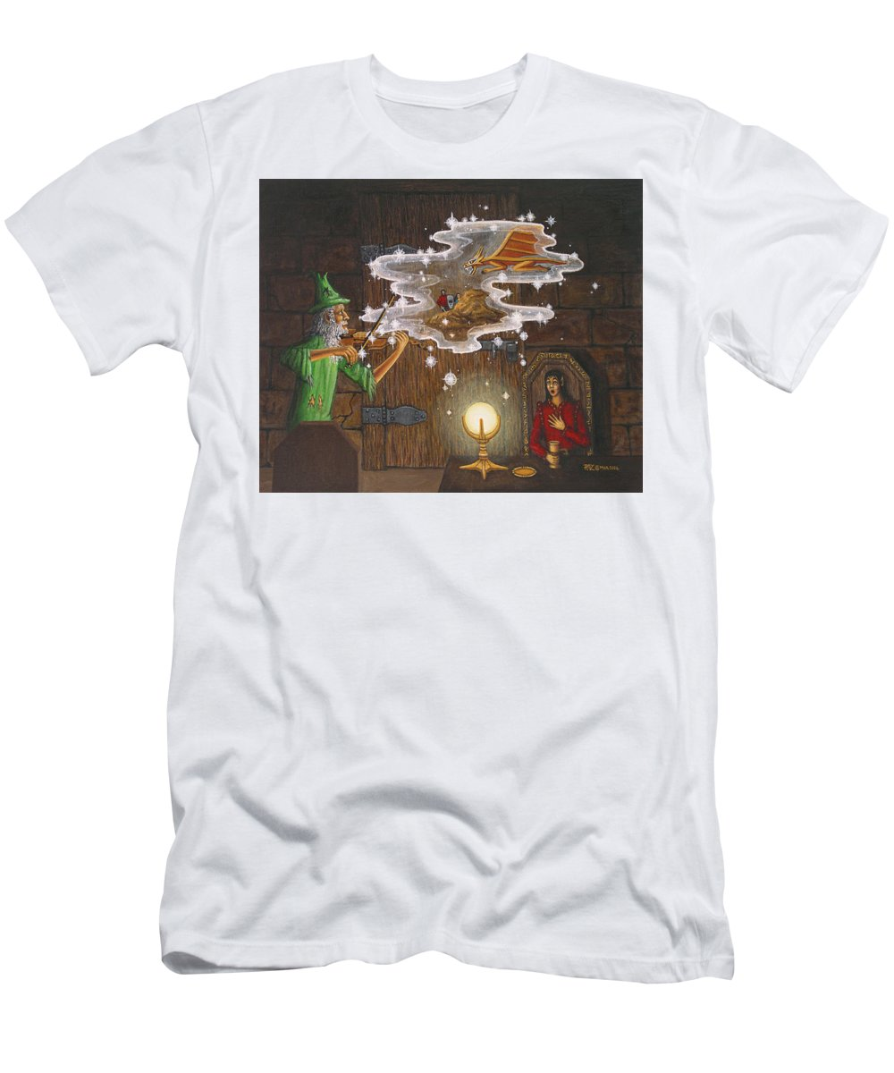 Fantasy Men's T-Shirt (Slim Fit) featuring the painting Magic Violin by Roz Eve