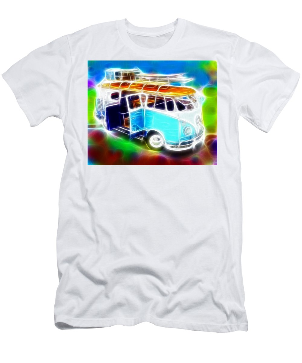 Vw Van Men's T-Shirt (Athletic Fit) featuring the drawing Magical Splitty by Paul Van Scott