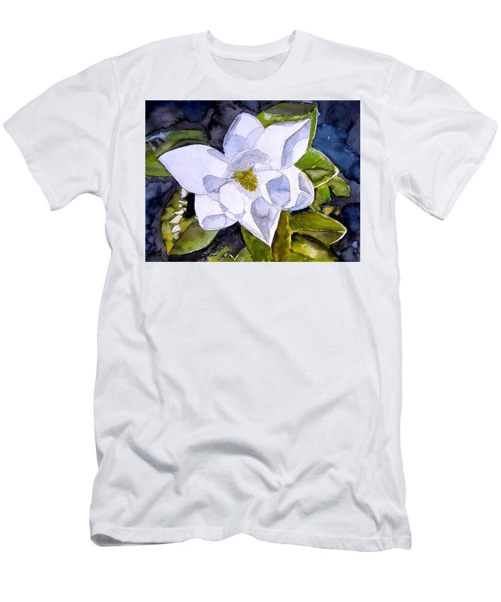 Magnolia Men's T-Shirt (Athletic Fit) featuring the painting Magnolia 2 Flower Art by Derek Mccrea