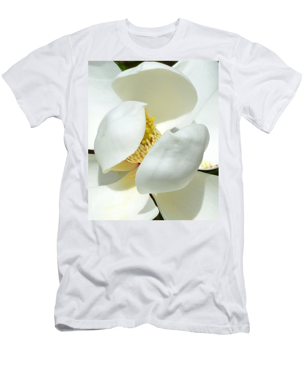 Magnolia Men's T-Shirt (Athletic Fit) featuring the photograph Magnolia Macro by Linda Covino
