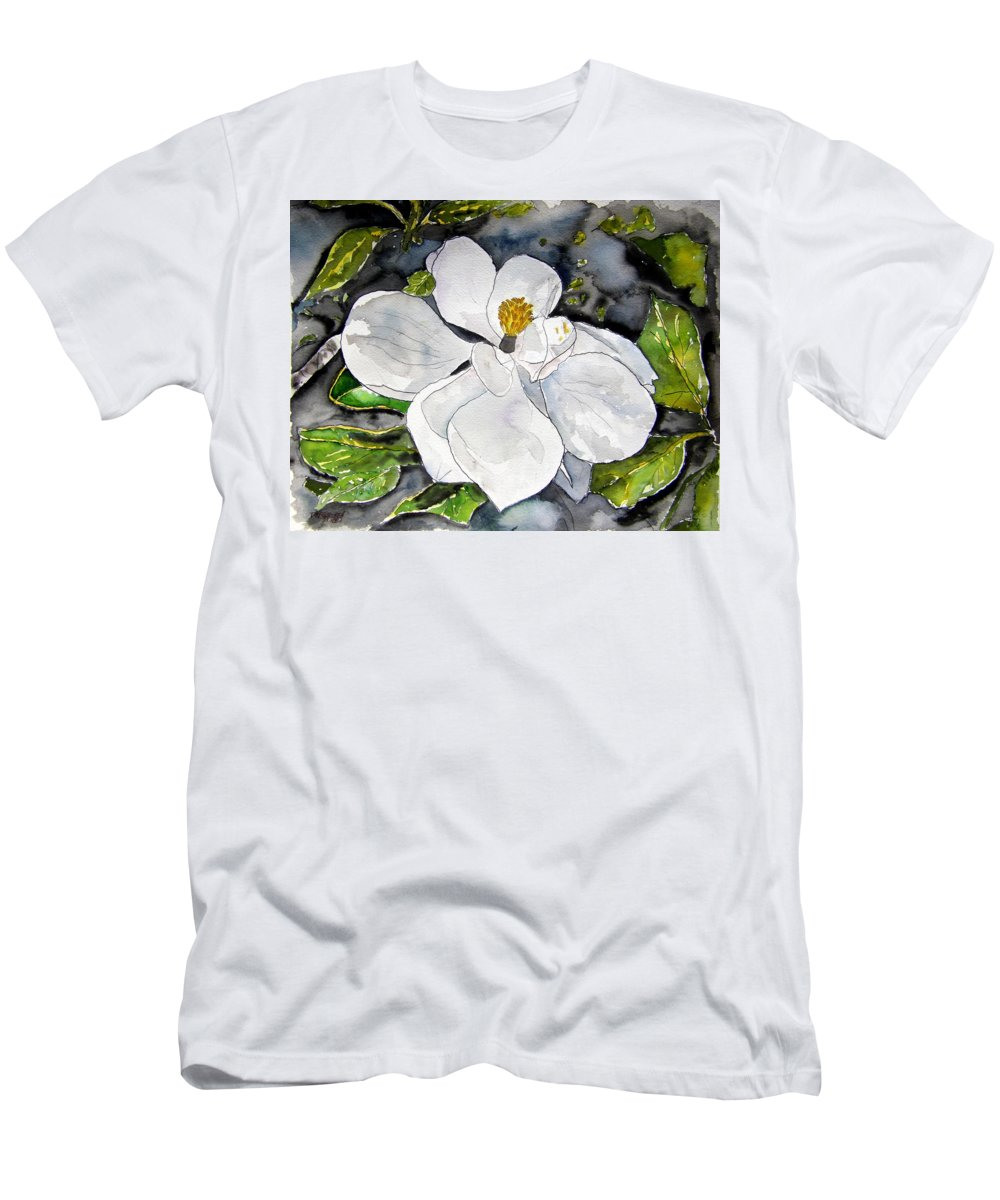 Magnolia Men's T-Shirt (Athletic Fit) featuring the painting Magnolia Tree Flower by Derek Mccrea