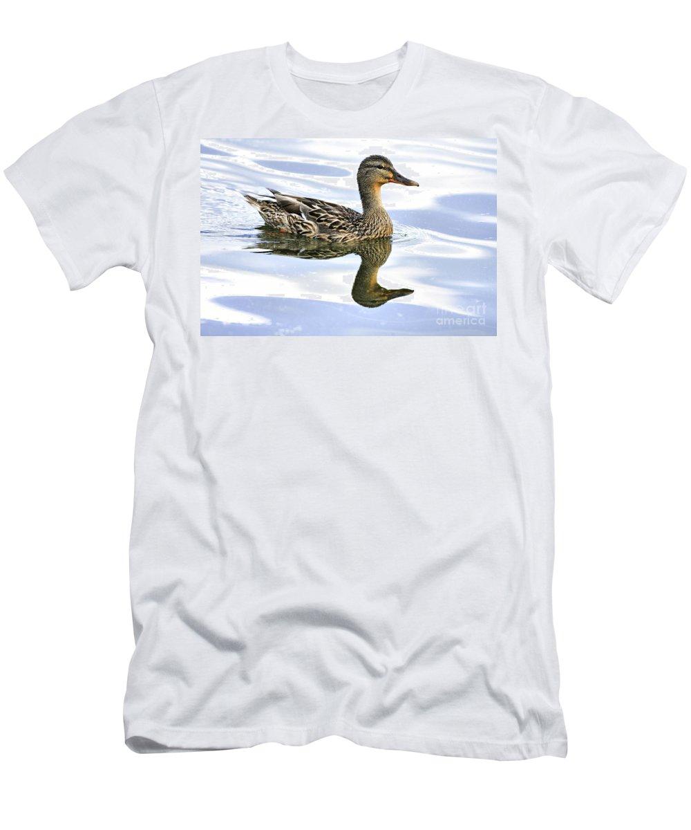 Bird Men's T-Shirt (Athletic Fit) featuring the photograph Mallard Reflections by Deborah Benoit