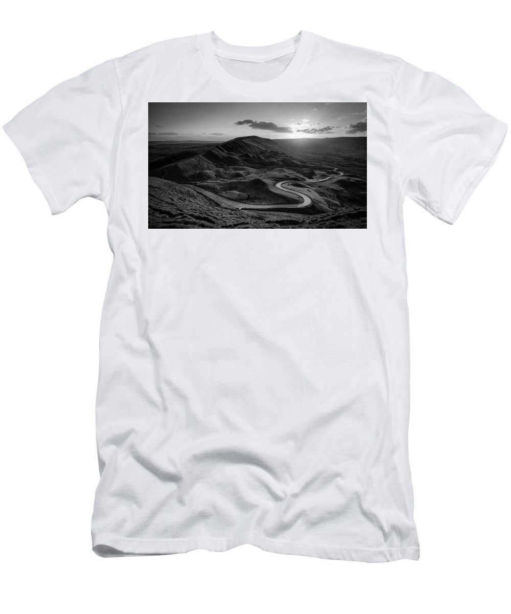 Mam Tor Men's T-Shirt (Athletic Fit) featuring the photograph Mam Tor In Derbyshire by Unsplash