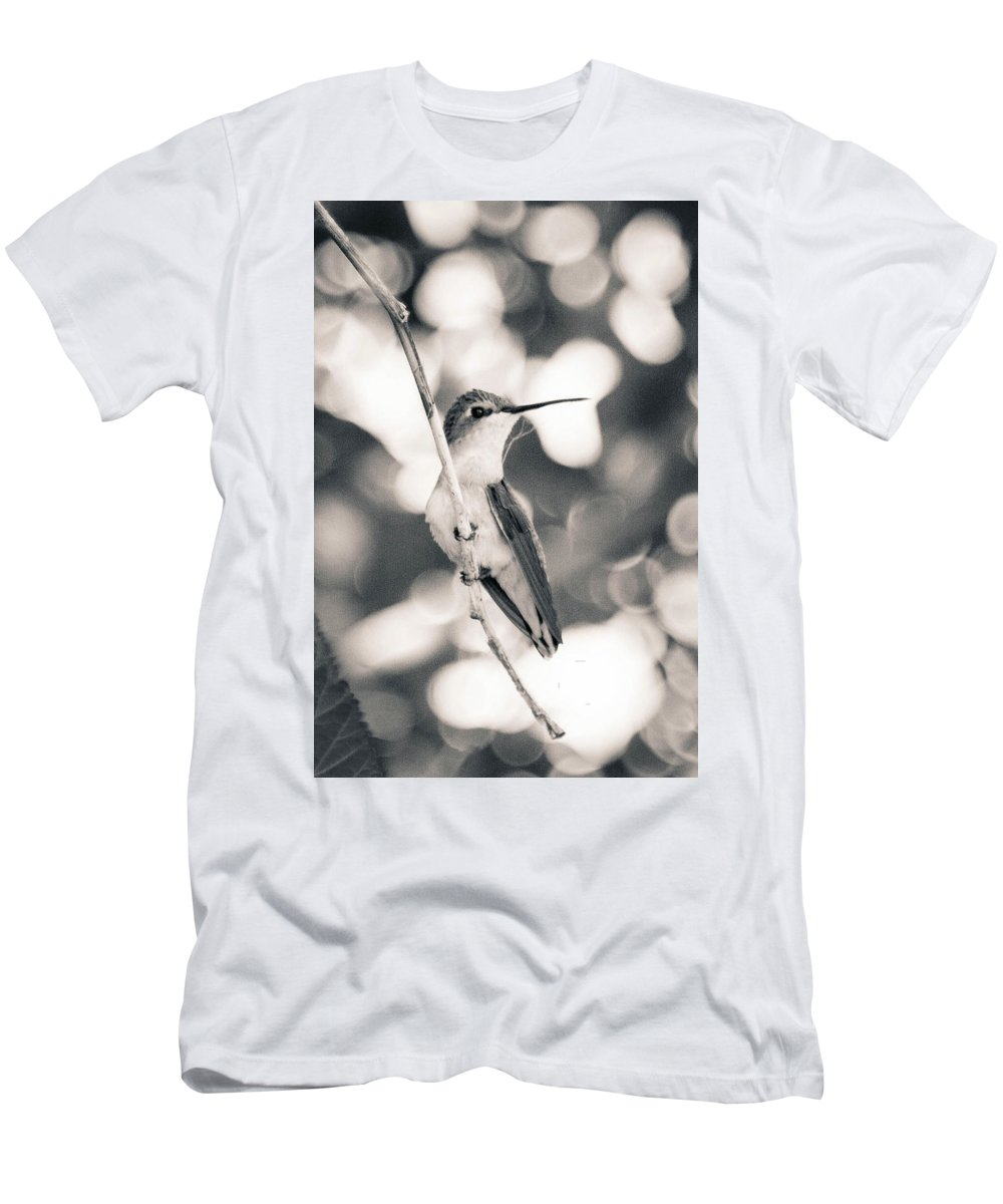 Bird Men's T-Shirt (Athletic Fit) featuring the photograph Mama Hummingbird by Kelly Maize