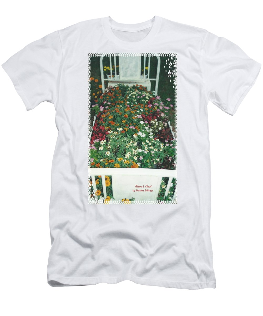 Flower Bed Men's T-Shirt (Athletic Fit) featuring the photograph Mama's Flower Bed by Maxine Billings