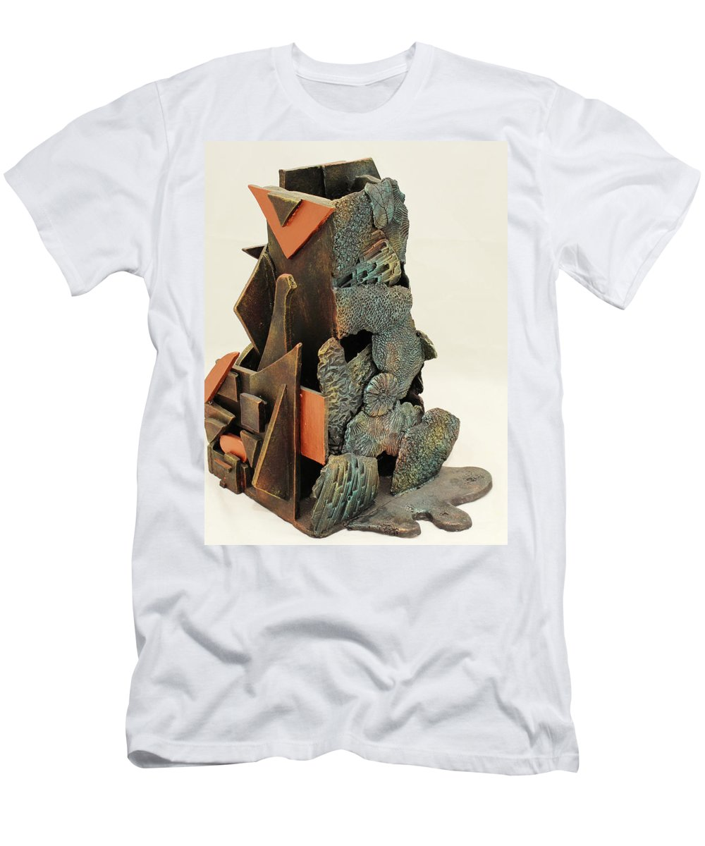 Shapes Men's T-Shirt (Athletic Fit) featuring the sculpture Man Vs. Nature by Chase Berry