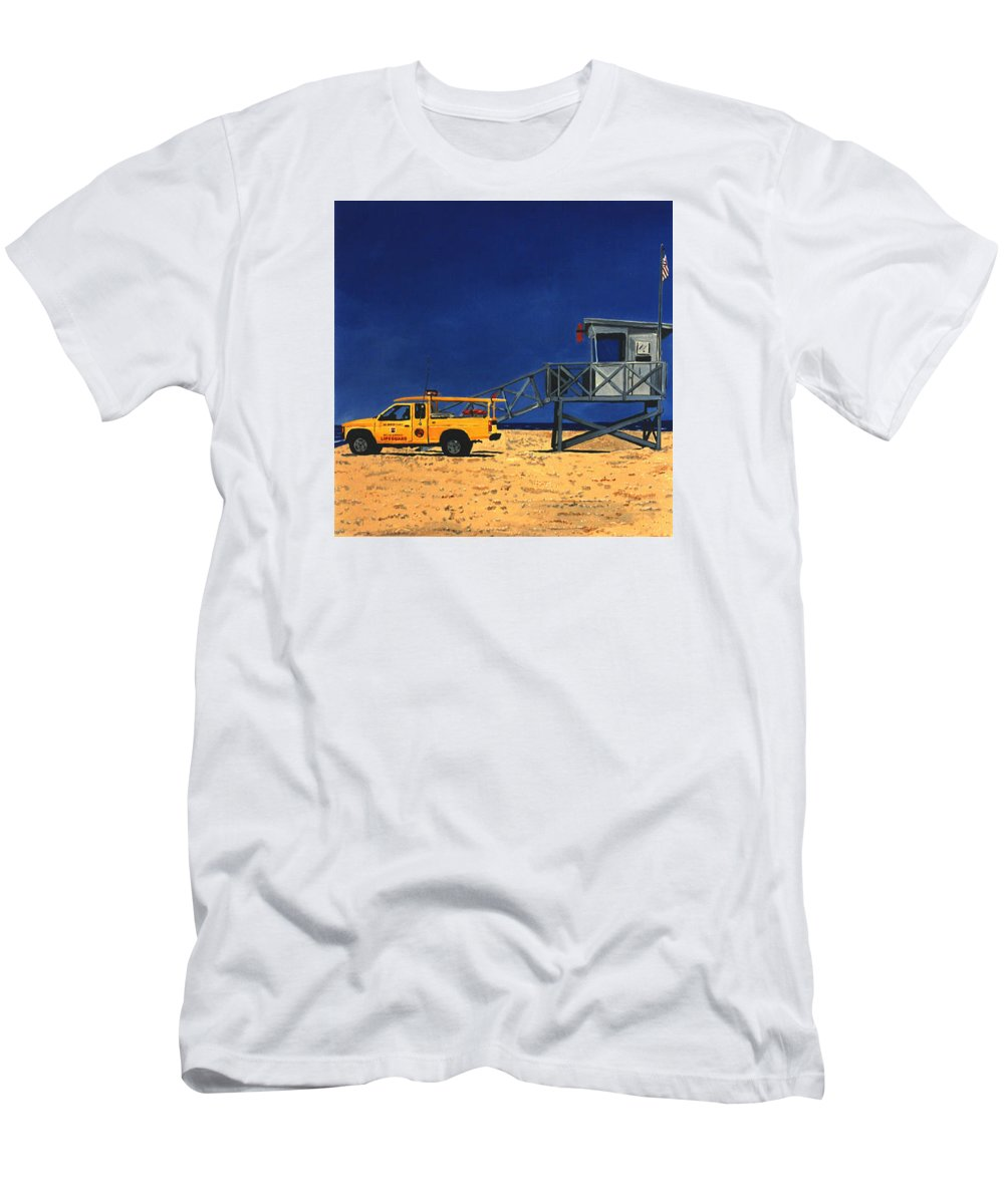 Modern Men's T-Shirt (Athletic Fit) featuring the painting Manhattan Beach Lifeguard Station Side by Lance Headlee