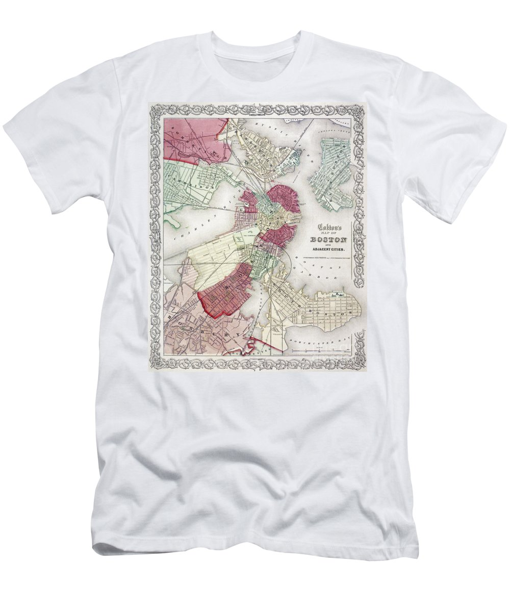 1865 Men's T-Shirt (Athletic Fit) featuring the photograph Map: Boston, 1865 by Granger