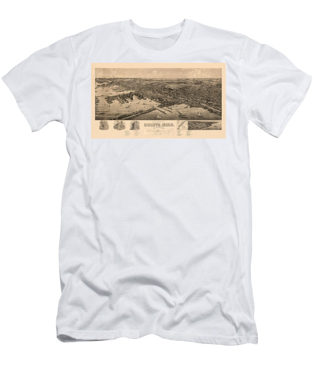 Map Of Duluth Men's T-Shirt (Athletic Fit) featuring the photograph Map Of Duluth 1893 by Andrew Fare